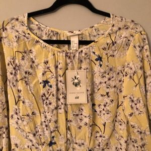 New H&M Anna Glover Yellow Floral Midi Dress